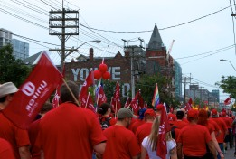 Featured Union at this labour day parade was Unifor. A sea of red and white on Queen St. (Toronto Labour Day Parade, September 2, 2013)