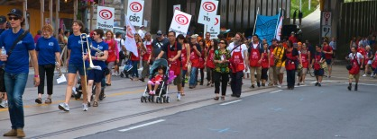 Unionized members of the media and other unions marching onto Dufferin St (Toronto Labour Day Parade, September 2, 2013)